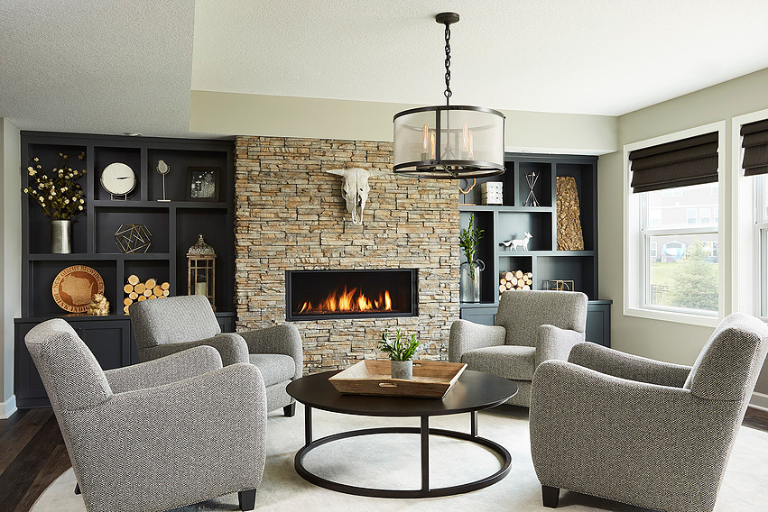Living room with fireplace comes to life after installation!