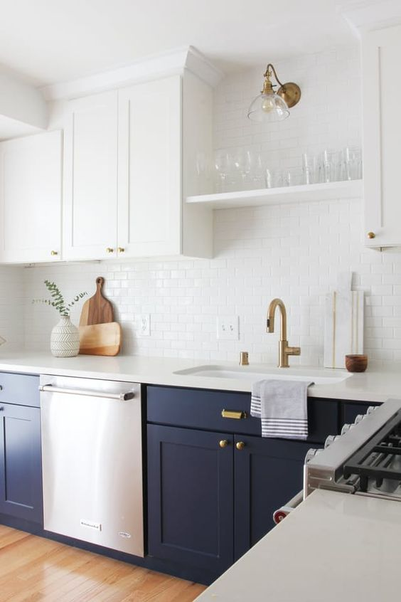 Kitchen with upper white cabinets and lower navy blue cabinets with brass fixtures