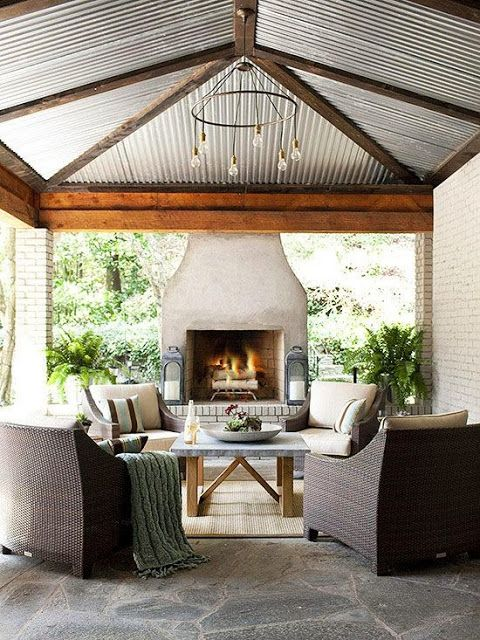 3.An outdoor fireplace is incredibly inviting, and the covered space means fires can happen rain or shine