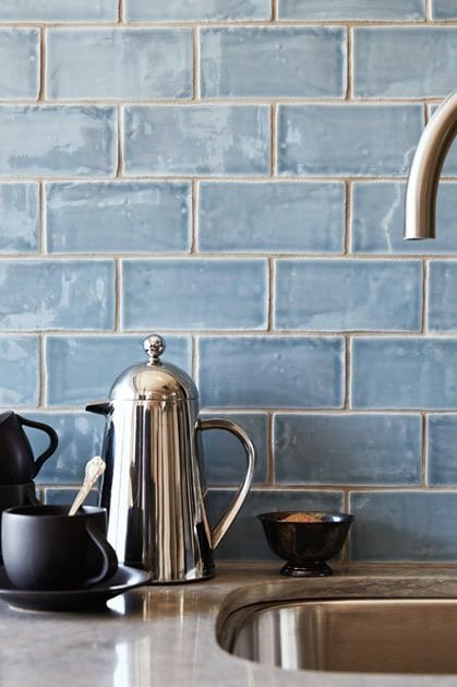 Powder Blue Subway Tiles Paired with Gray Grout