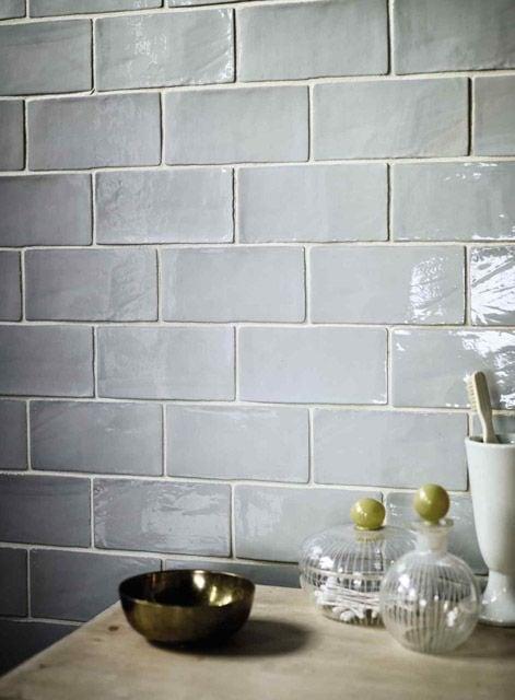 Kitchen backsplash with gray Catalina subway tiles