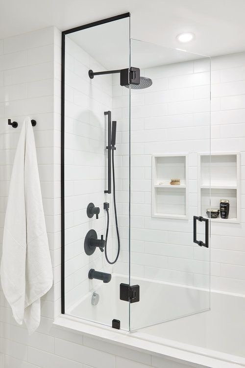 Bathroom Shower with Matte White Subway Tiles and White Grout