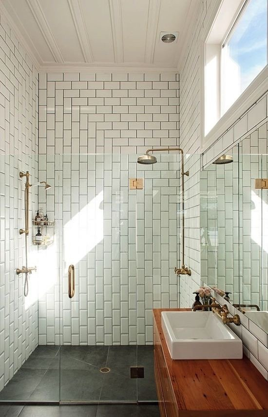 White Subway Tile Arranged Vertically and Horizontally