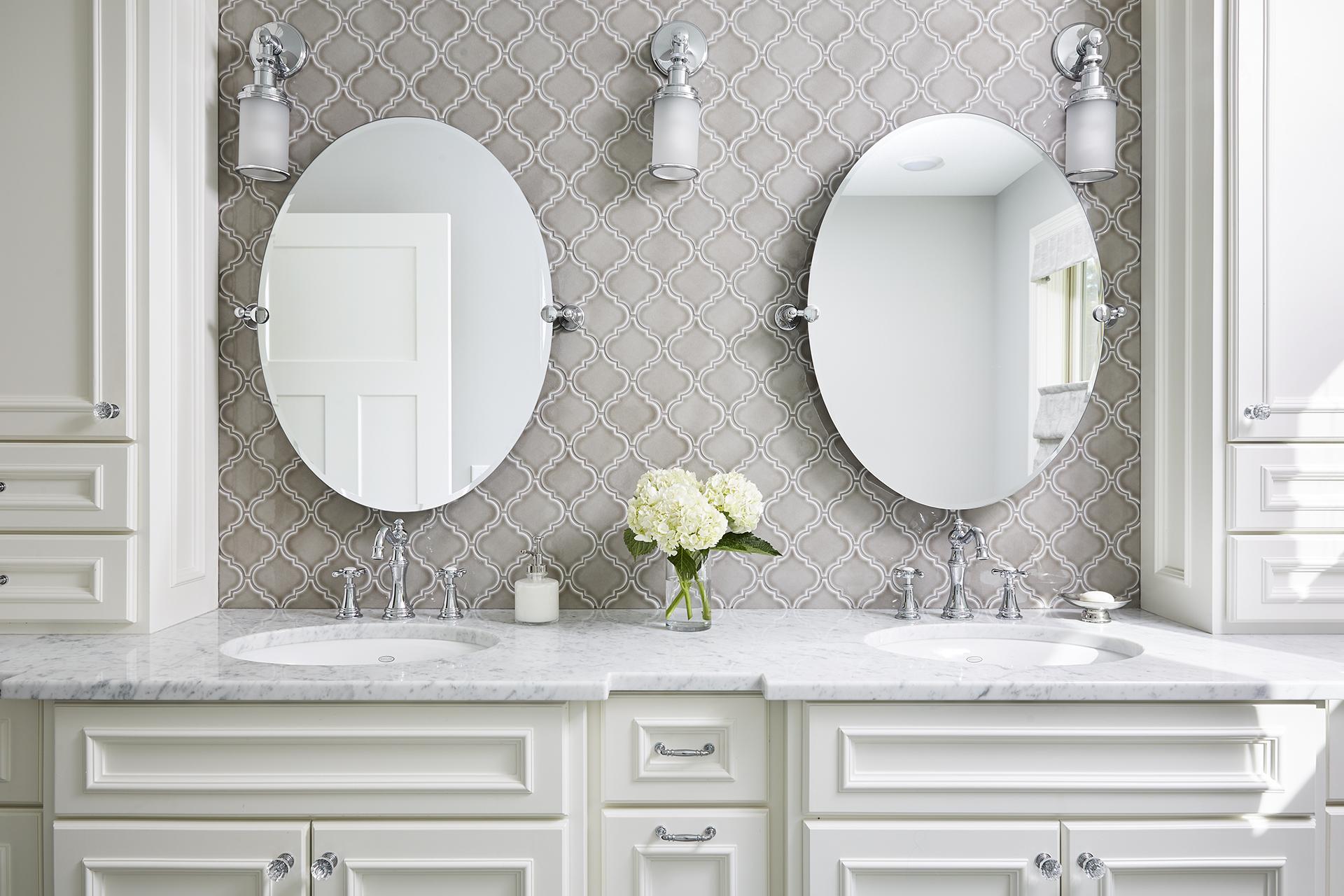- Master Bathroom With Warm Gray Arabesque Tile Sneak Peek Design