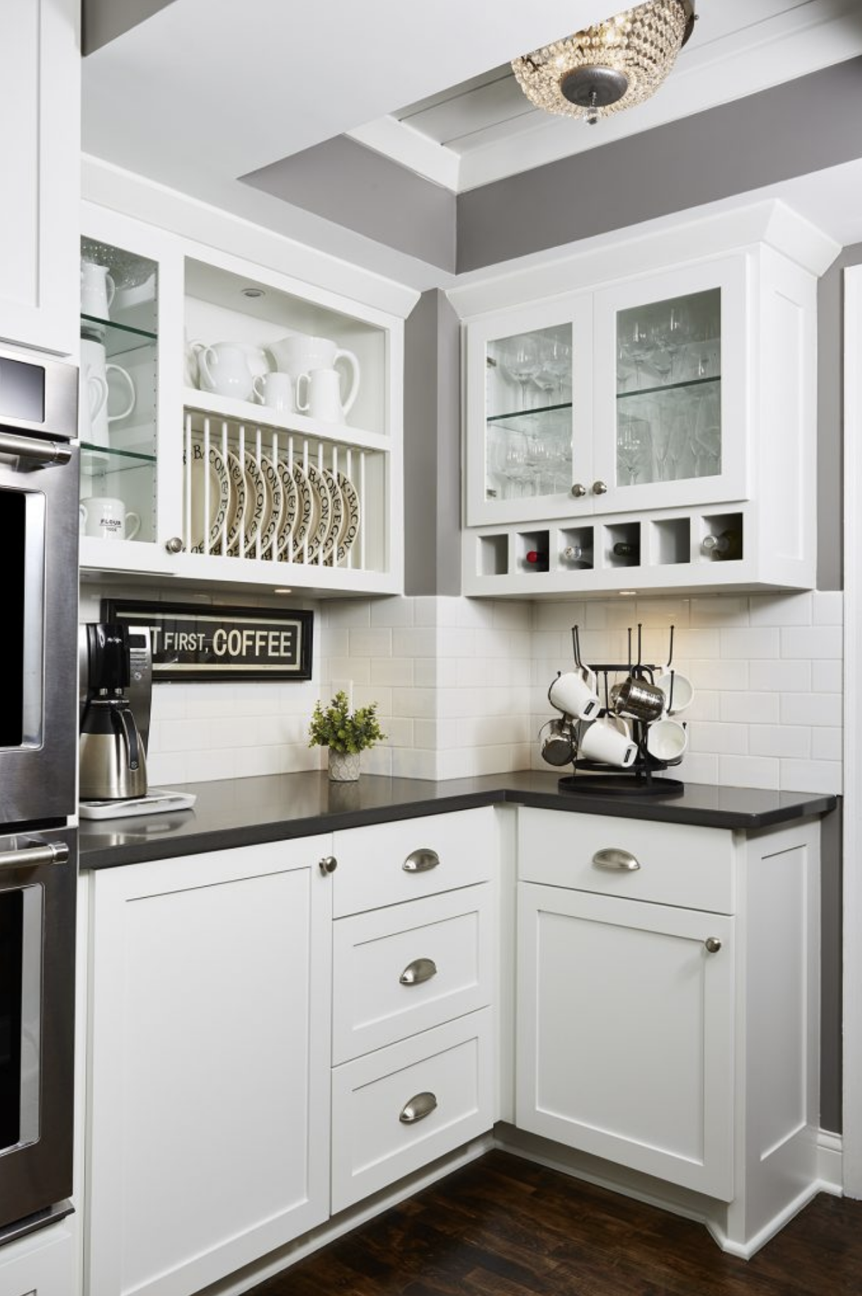 A coffee nook was created to be both functional and stylish in this updated contemporary kitchen.