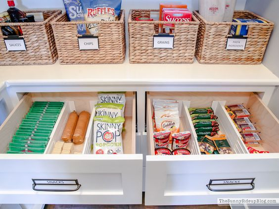 Drawers make this pantry a total organization station with snacks at the ready and easy-to-reach for kids.