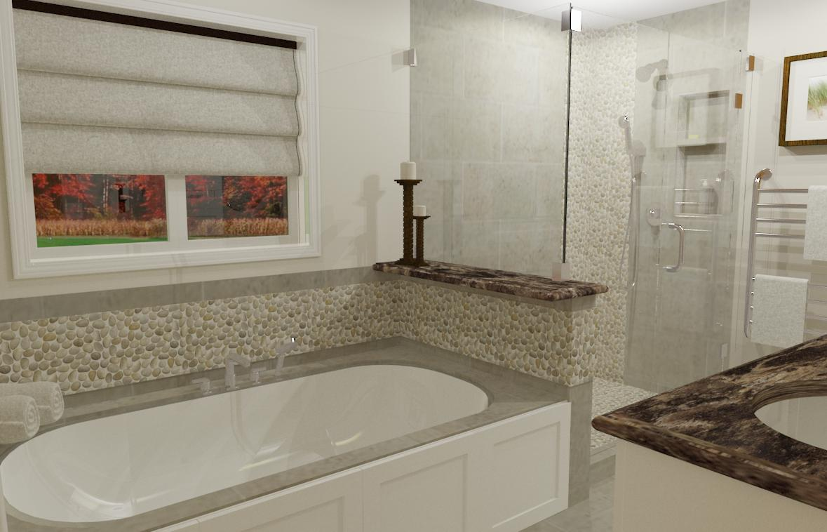 3-D rendering of the future bathtub and shower wall, complete with updated glass, faucets, and tile.