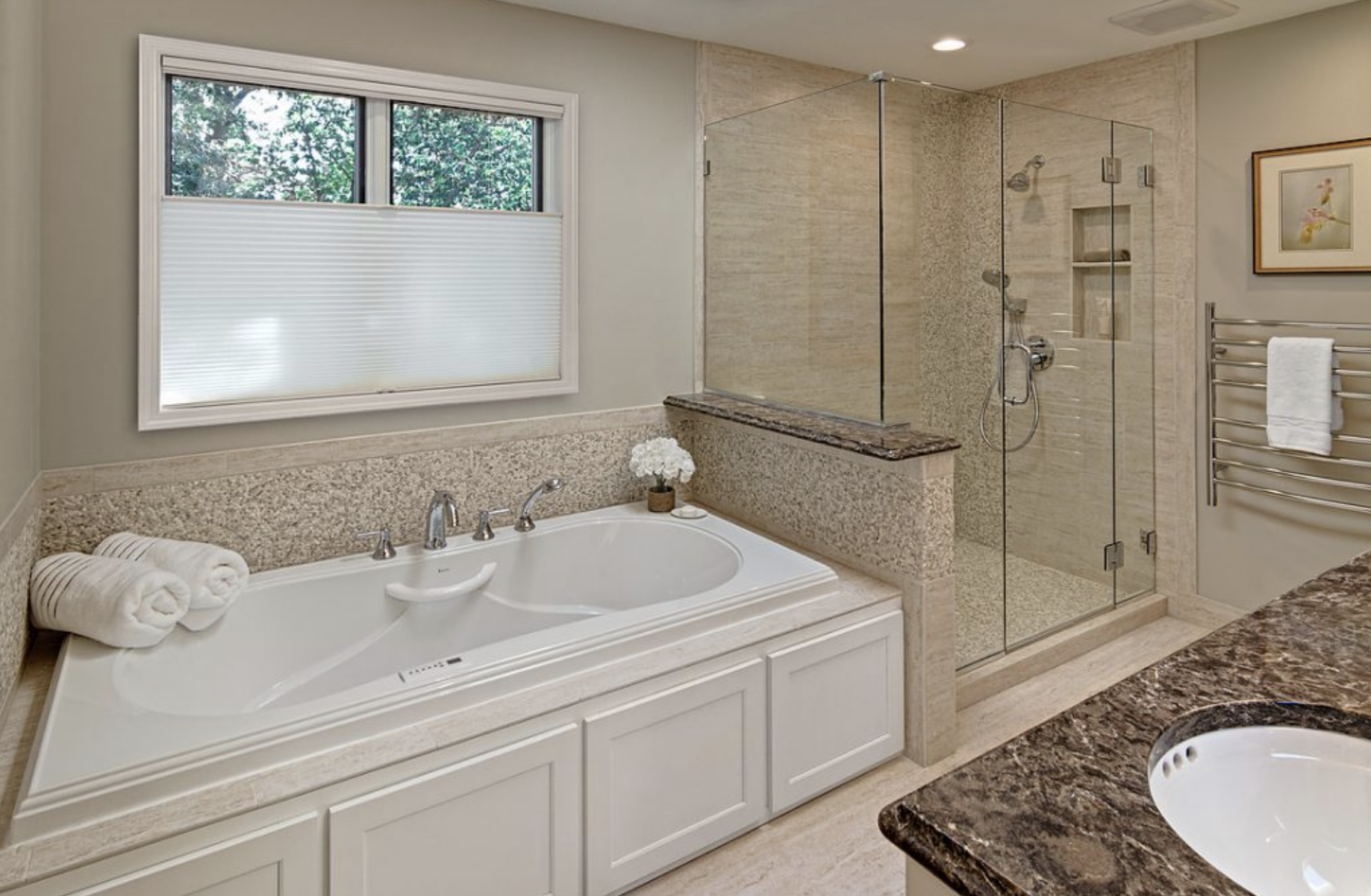 The final tub and shower felt much more open, allowing light to penetrate the entire bathroom and making everything feel much larger.