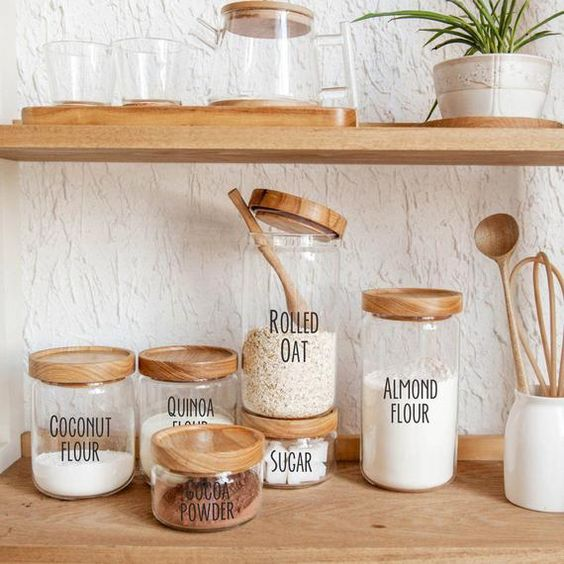 Stylishly-labeled baking items gives this pantry area a streamlined and contemporary look.
