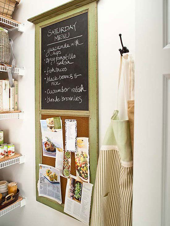 A convenient chalkboard and corkboard duo offers an all-in-one organization space to keep track of lists, upcoming family events, and recipes to try.
