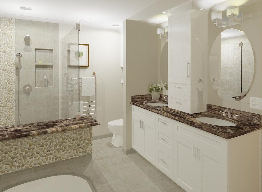 3-D rendering of the his & her sinks station and separate toilet area, including ample storage solutions on the vanity.
