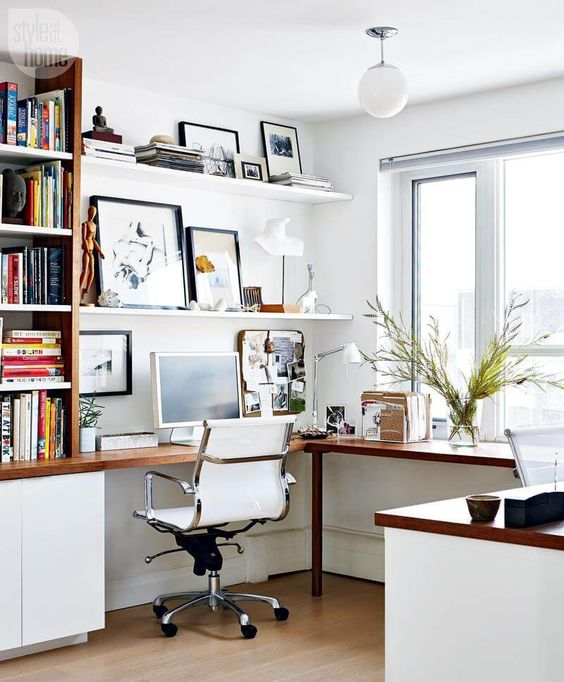 Ample bookcase and shelf space allow for plenty of storage options, while a simple file organizer keeps desktop files and clutter to a minimum. / Source