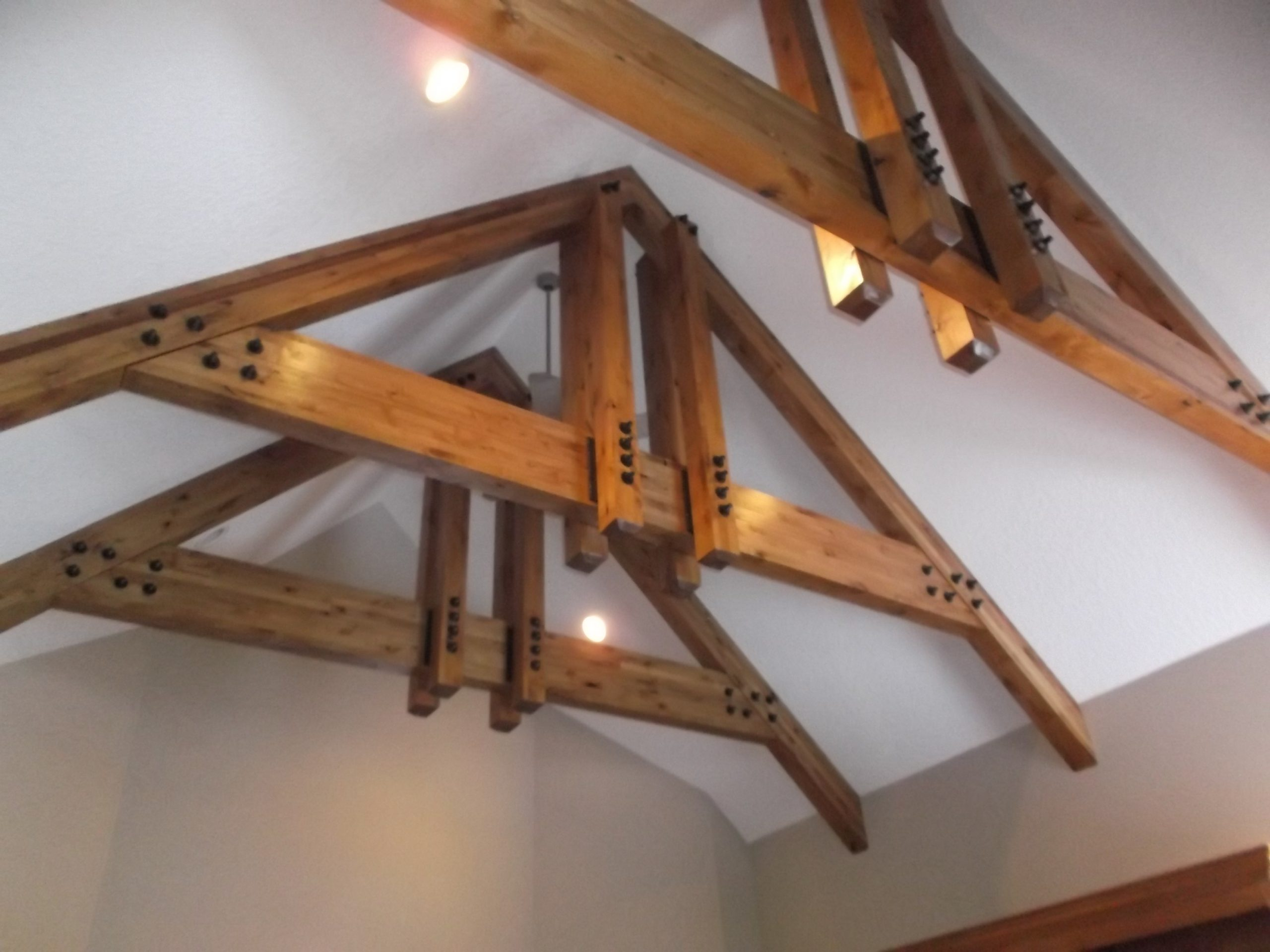 While we loved the vaulted ceilings, the beams for our new design needed to have a sleeker look, and the lighting needed an upgrade and a personality.