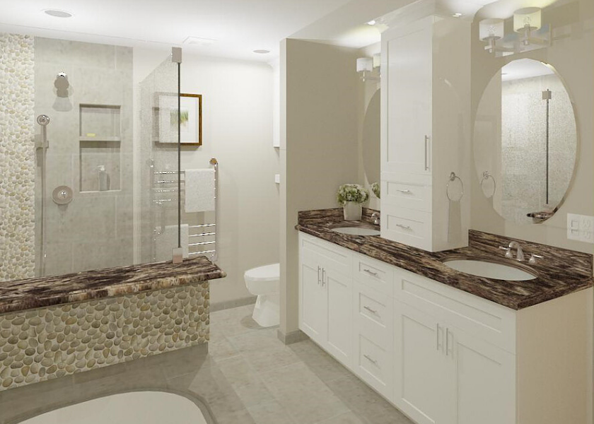 White Master Bathroom E-Design Rendering