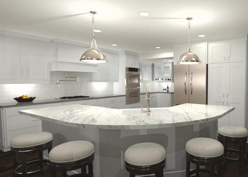White Kitchen E Design Rendering