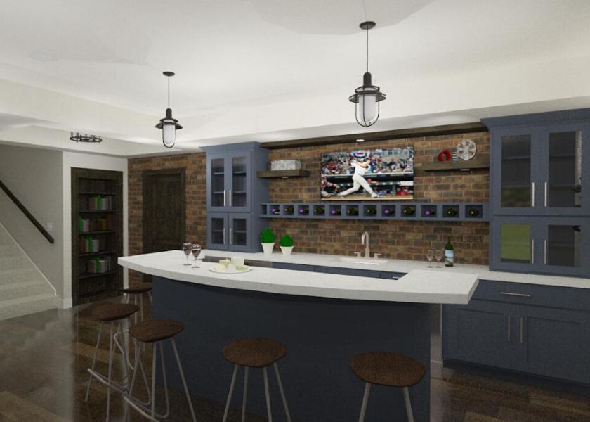 Basement Bar Blue with Brick Wall E-Design Rendering