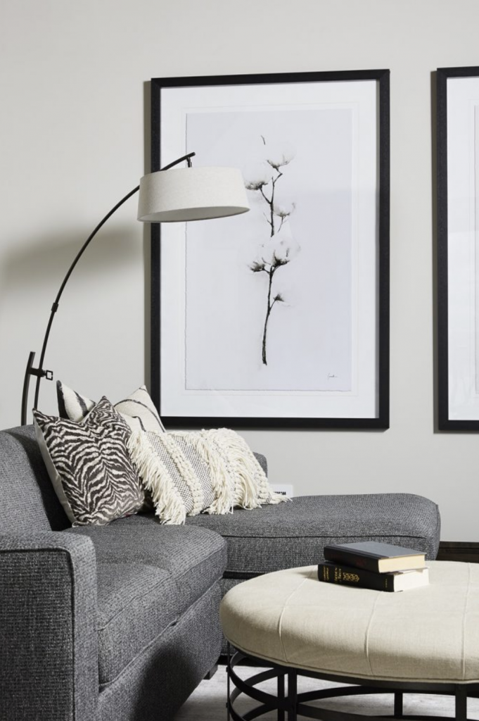 Black and white are a classic duo when set against a wall painted with Benjamin Moore's Collingwood. (Interior Design: Carla Bast | Sneak Peek Design)