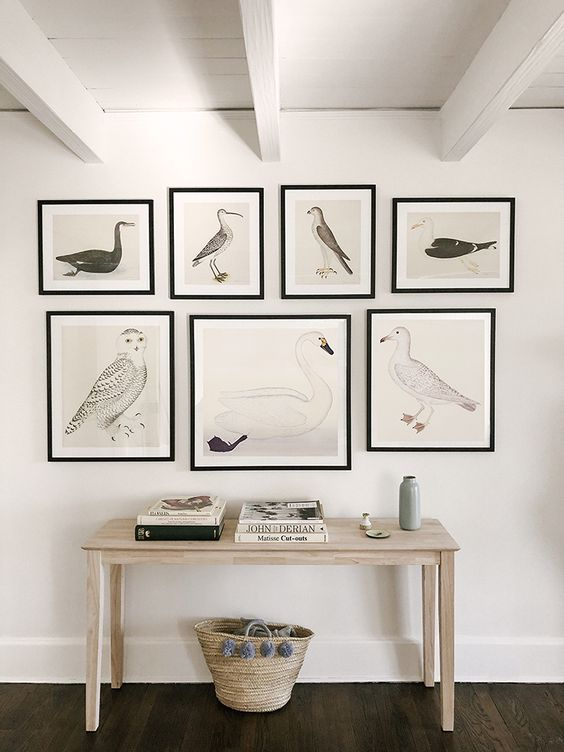 A bird-themed gallery wall helps to define this office background wall and provide a point of interest within the space.