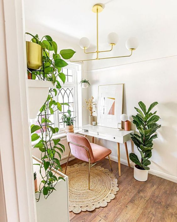 In this home office, a trailing plant mounted on a shelf provides a beautiful textured point of interest in the background for video conference calls.