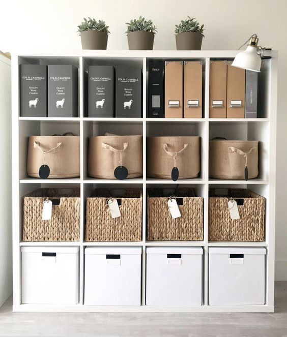 All of the office essentials are stylishly placed in their respective areas in this home office, and the organized approach makes it easier than ever to access things as needed.