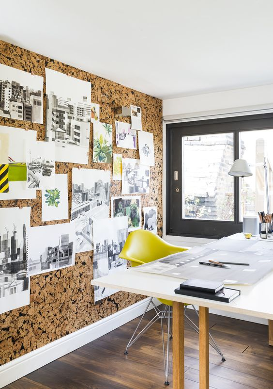 A full cork wall transforms this office into an ultra-functional and stylish haven.